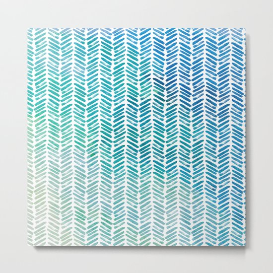 Handpainted Herringbone Chevron pattern-small-aqua watercolor on white Metal Print