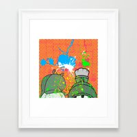 cartoons Framed Art Prints featuring Cartoons and Cereal by Kerosene Bill