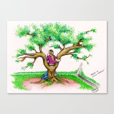 ME ON A SCHOOL TREE - 1994 Canvas Print