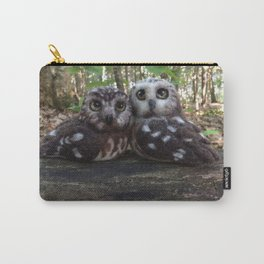 Northern Saw Whet Owls - Needle Felted Sculptures Carry-All Pouch