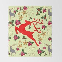 DECORATIVE LEAPING RED DEER  & HOLY BERRIES CHRISTMAS  ART Throw Blanket
