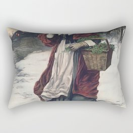 Christmas Morning (1899) by American Lithographic Co Rectangular Pillow