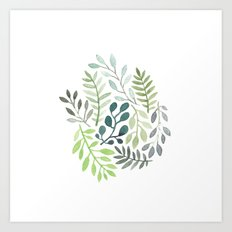 watercolor plants Art Print