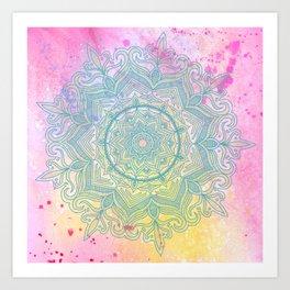 pink splash mandala Art Print