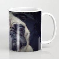 pug Mugs featuring Pug by Malgorzata Zabawa