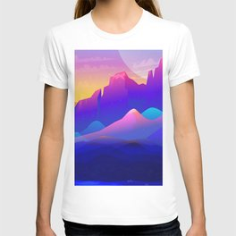 Marvelous Mountainscape At Gorgeous Sunset Purple Shade Ultra HD T-shirt
