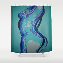Moulded Glass Beautiful Nude Abstract  Shower Curtain