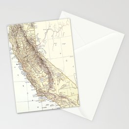 Vintage Map of California (1878)  Stationery Cards