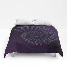 Tribal Mermaid Spiral Shell on Violet Comforters