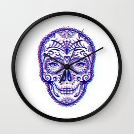 Sugar Skull (Calavera) Chromatic Aberration - Cyan Magenta Wall Clock