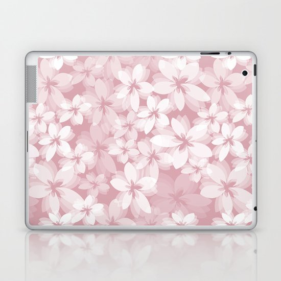 Pink and White Tropical Flowers Laptop & iPad Skin