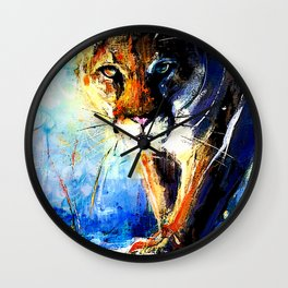 portrait of a creepin' cougar, in orange and blue Wall Clock