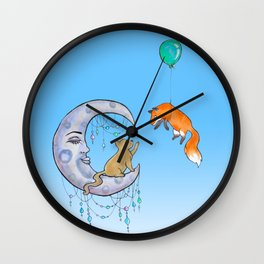 The fox and the cat Wall Clock