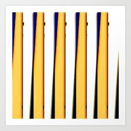 yellow blue white stripes Art Print