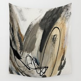 Drift [5]: a neutral abstract mixed media piece in black, white, gray, brown Wall Tapestry