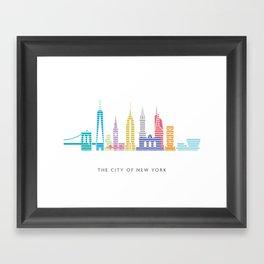 New York Skyline White Framed Art Print