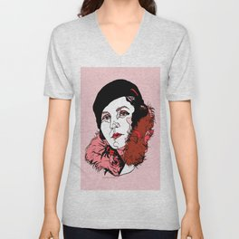 Germaine Tailleferre Female Composer Les Six, Ravel Paris Piano Harp vintage 1920s flapper lady Unisex V-Neck
