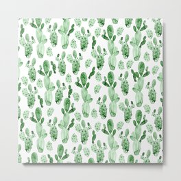 Green Cactus Field Metal Print