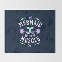 Mermaid With Muscle Throw Blanket
