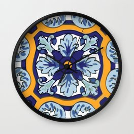 Talavera Mexican tile inspired bold design in blues and yellows Wall Clock