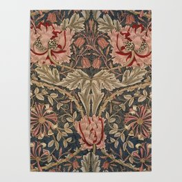 William Morris Honeysuckle Tuscany Italian Textile Floral Pattern Poster