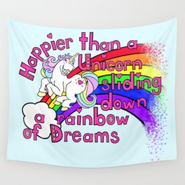 Happy Unicorn Wall Tapestry