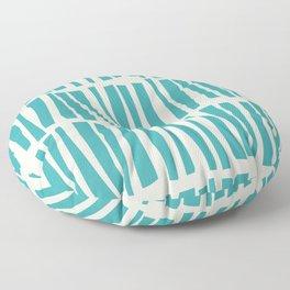 Aqua Teal Turquoise Solid Color Vertical Dash Stripe Line Pattern on Alabaster White - Aquarium SW 6767 Floor Pillow