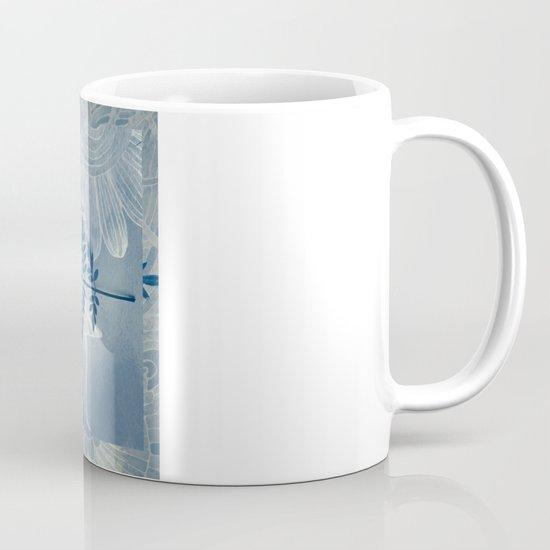 Jacaranda Leaf in Blue, Cream, Grey Mug