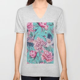 Teal peonies and birds Unisex V-Neck