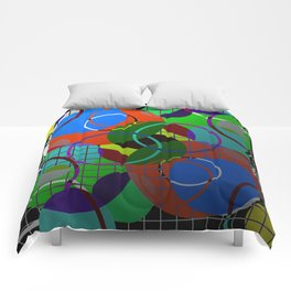 Caged Geometry - Abstract, metallic, geometric, rainbow coloured circles Comforters