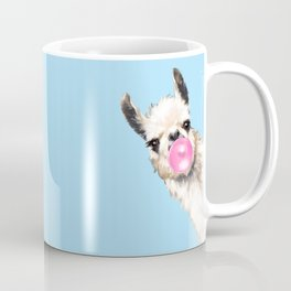 Bubble Gum Sneaky Llama in Blue Coffee Mug