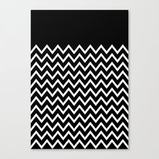 White Chevron On Black Canvas Print