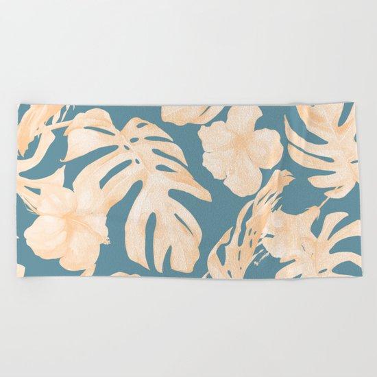 Island Vacay Hibiscus Palm Leaf Coral Teal Blue Beach Towel