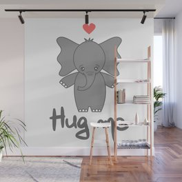 cute hand drawn lettering hug me quote with cartoon baby elephant Wall Mural