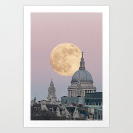 Super moon behind St Paul's Cathedral Art Print