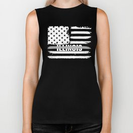 Illinois Correctional Officers Gift for Correctional Officers and Prison Wardens Thin Silver Line Biker Tank