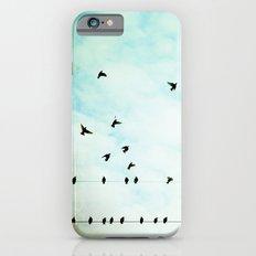 Birds Flying in Sky, Birds on Wires, Aqua Sky Nursery Art Slim Case iPhone 6s
