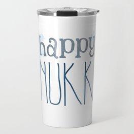Happy Hanukkah   Snowflakes Travel Mug