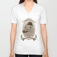 seal V-neck T-shirts featuring Smart seal  by Anaïs Gálvez