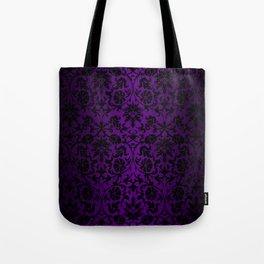Purple and Black Damask Pattern Design Tote Bag