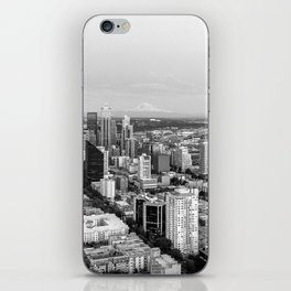 Seattle Skyline Harbor at sunset - black and white iPhone Skin