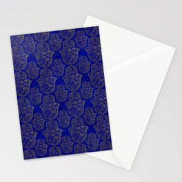 Hamsa Hand pattern - gold on lapis lazuli Stationery Cards
