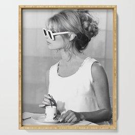Brigitte Bardot in Sunglasses Retro Vintage Art Serving Tray