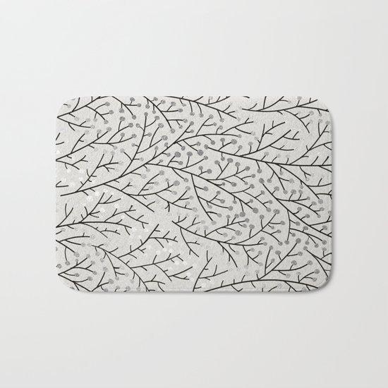 Berry Branches – Silver & Black Bath Mat