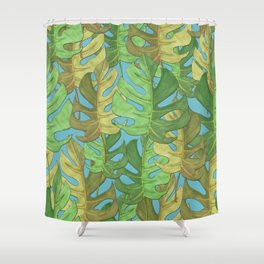 Tropical paradise of monstera leaves - seamless pattern Shower Curtain