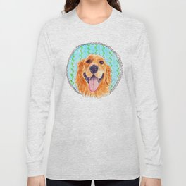 You're Never Fully Dressed without a Smile, Golden Retriever, Whimsical Watercolor Painting, White Long Sleeve T-shirt