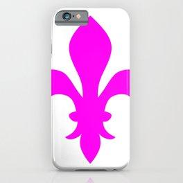Fleur de Lis (Magenta & White) iPhone Case
