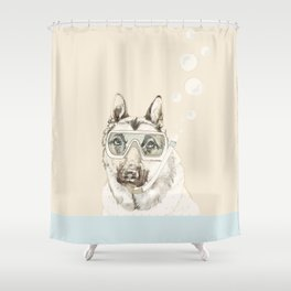 Diver Dog Shower Curtain