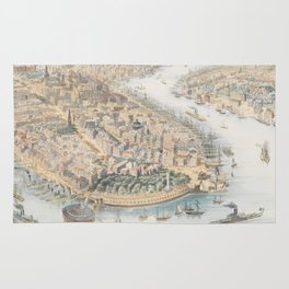 Vintage Pictorial Map of New York City (1852) Rug