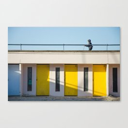 In scooter, yellow cabins Canvas Print
